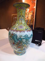 A famille rose enameled porcelain baluster vase Qianlong mark, late Qing/Republic period