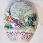 A small famille rose enameled vase Shen de tang zhi mark