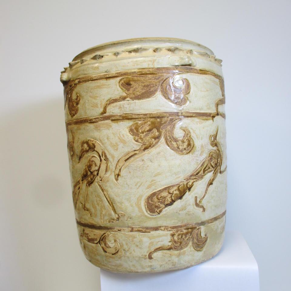 A cream glazed storage jar with brown inlay bird decoration Ly-Tran dynasty, 12th-14th century