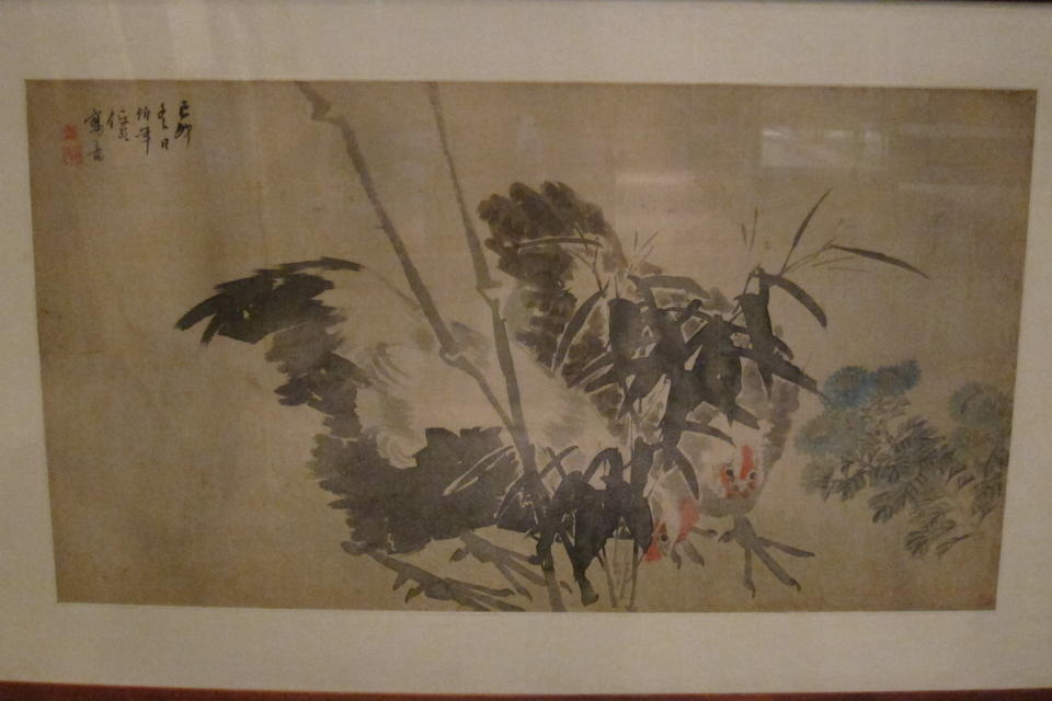 Ren Yi (1840-1896)  Roosters, Bamboo, and Chrysanthemums, 1879