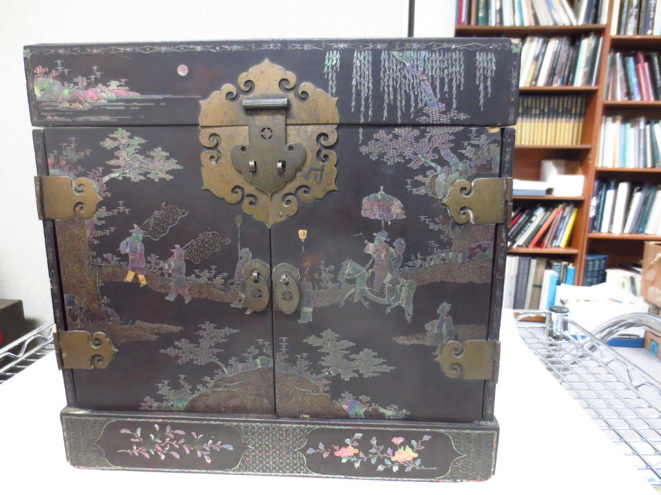 A MOTHER-OF-PEARL INLAID BLACK LACQUER TABLE-TOP CHEST, GUANPIXIANG 19th century