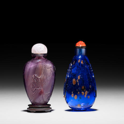 TWO GLASS SNUFF BOTTLES 1750-1800