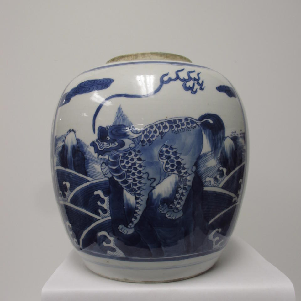 A blue and white porcelain ginger jar  Kangxi period
