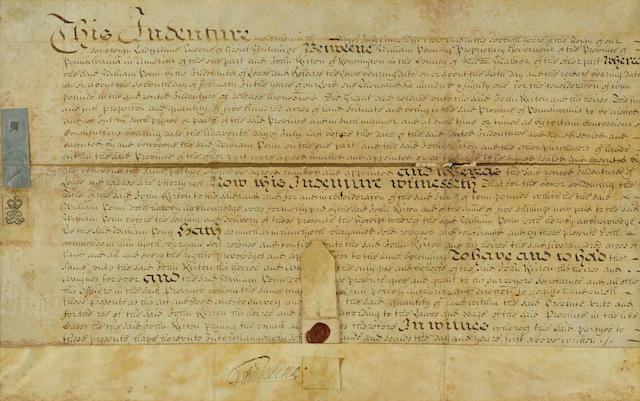 "PENN, WILLIAM. 1644-1718. Document Signed (""Wm Penn""), 1 p, folio (330 x 510 mm), manuscript on vellum, July 11, 1700,"