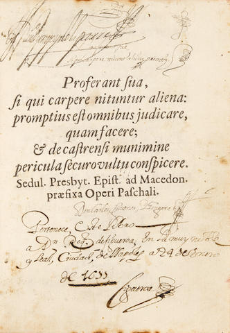SIGUENZA Y GONGORA, CARLOS DE. 1645-1700. Theatro de virtudes políticas que constituyen a un Príncipe.... Mexico: widow of Bernardo Calderon, 1680.