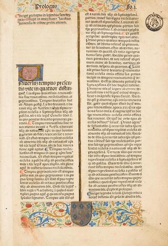 VORAGINE, JACOBUS DE. 1228-1298. Legenda aurea sanctorum.  Nuremberg: Anton Koberger, 11 August 1478.