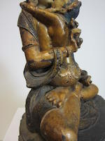 A polychrome gilt lacquered wood figure of Vajrasattva and Vajragarvi Qing dynasty, 17th century