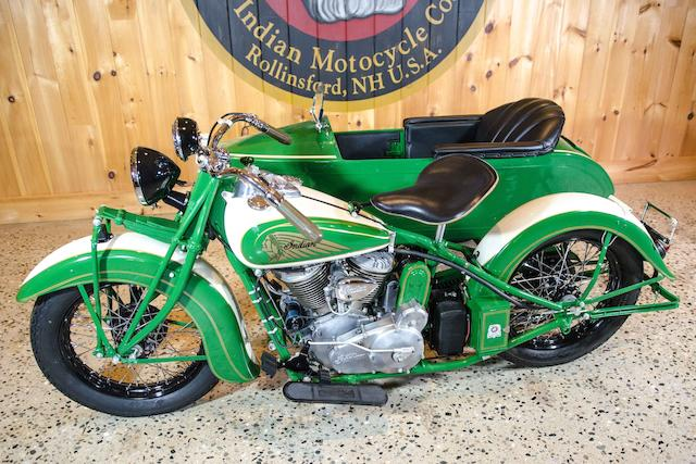 1938 Indian 74ci Chief with Princess Sidecar Engine no. CCH 1179 B