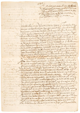 """CORTES, FERNANDO, III MARQUES DEL VALLE. 1560-1602. ADRIANO, JUAN SANCHEZ. Manuscript Document Signed (""""Juan Sanchez Adriano""""), being a plea from Fernando Cortez's head accountant to Don Juan Maldonado de Montejo, and countersigned by him, describing the embezzlement and thievery of another of Cortes's employees, 3 pp recto and verso, bifolium, 310 x 215 mm, Mexico City, 1596,"""