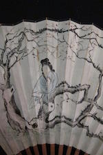 Various Artists (20th century) Two Fan paintings of Animals and Figures in Landscape with Calligraphy