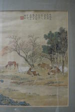 Anonymous (20th century) Two paintings of Horses in Pasture