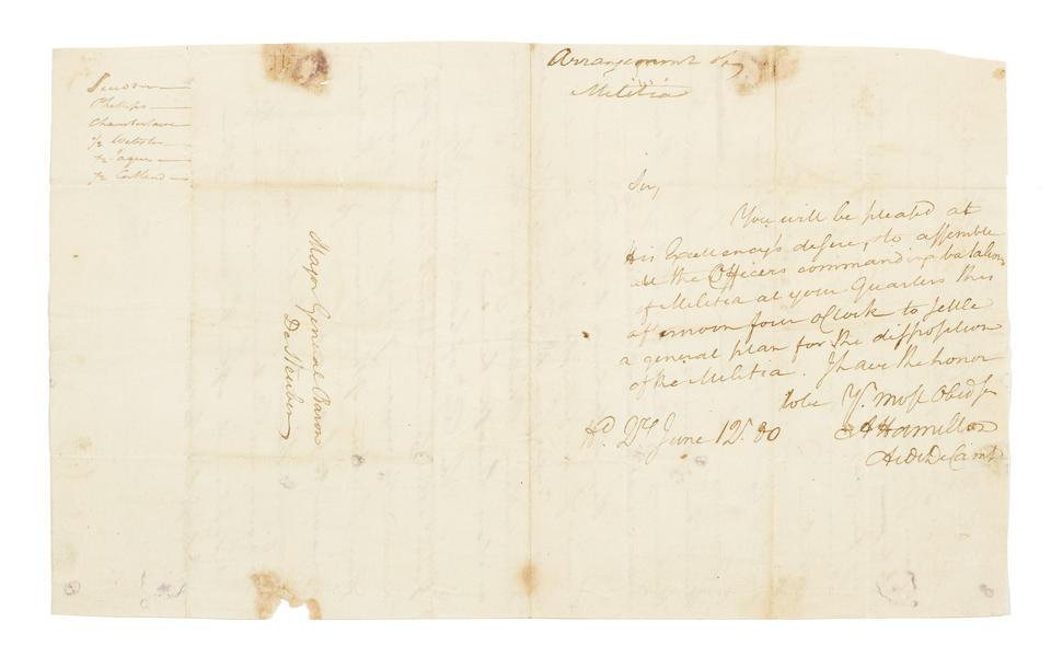 """HAMILTON, ALEXANDER. 1757-1804.  Autograph Letter Signed (""""A. Hamilton"""") 1 p, 8vo, bifolium, Hd. Qrs [Springfield, NJ,] June 12, 1780, to Baron de [von] Steuben,"""