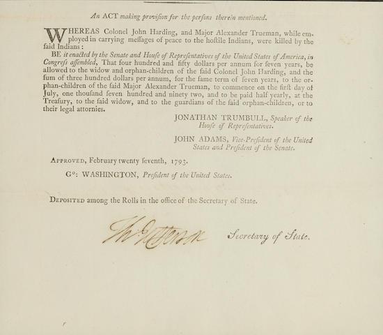 "JEFFERSON, THOMAS. 1743-1826.  Document Signed (""Thomas Jefferson""), 1 p, folio (185 x 205 mm), Washington, DC, February 27, 1793,"