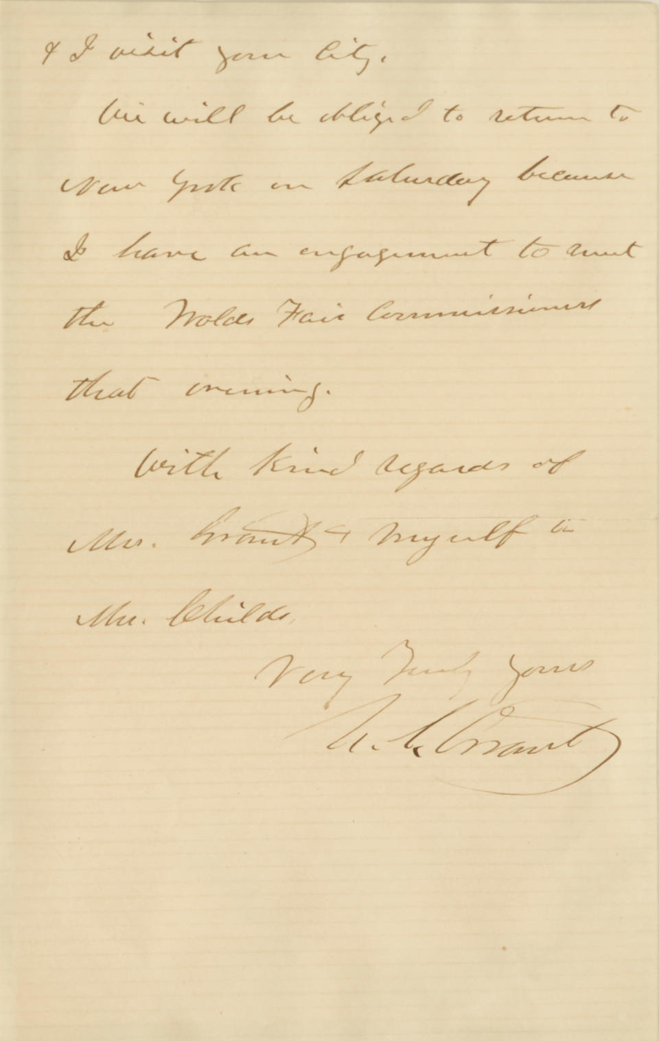 "Grant, Ulysses S. 1822-1885; Grover Cleveland. 1837-1908. Autograph Letter Signed (""U.S. Grant""), 2 pp, 8vo, New York City, January 31, 1881, to George Childs,"
