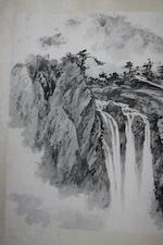 Liang Boyu (1903-1978)  Scholars in Waterfall Landscape, 1961