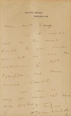 "WILDE, OSCAR. 1854-1900. Autograph Letter Signed (""Oscar Wilde""), 1 p, 8vo, n.d., London, on his Tite Street letterhead, to a Mrs. Eowing,"