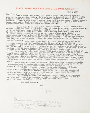 "HEMINGWAY, ERNEST. 1899-1961. Typed Letter Signed (""Papa""), 1 p, February 18, 1955, San Francisco de Paula, Cuba, on Finca Vigia stationery,"