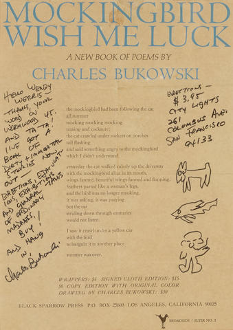 "BUKOWSKI, CHARLES. 1920-1994. Broadside Signed (""Charles Bukowski""), announcing the publication of Bukowski's poetry collection Mockingbird Wish Me Luck,"