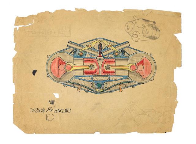 Von Dutch (Kenneth Howard 1929 – 1992) 'Design for engine'  (1)