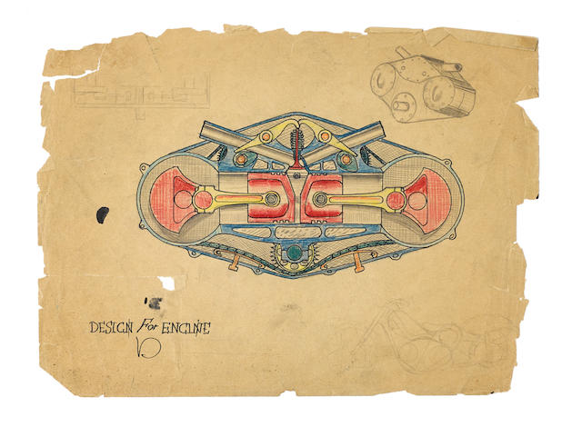 Von Dutch (Kenneth Howard 1929 – 1992) 'Design for engine'  (1)