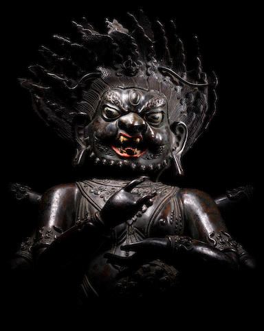 A COPPER ALLOY REPOUSSÉ FIGURE OF SHADBHUJA MAHAKALA DOLONNOR, QING DYNASTY, 18TH CENTURY