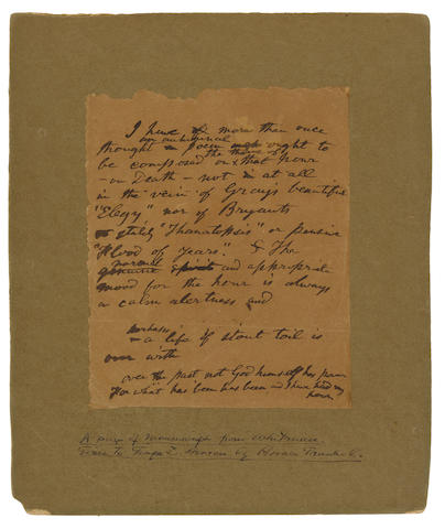 WHITMAN, WALT. 1819-1892. Autograph Manuscript, 1 p, 194 x 159 mm, n.p., [1890?], comprising his thoughts on death,