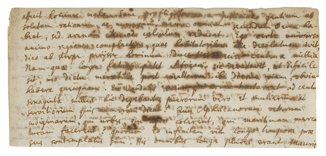 NEWTON, ISAAC. 1642-1727. Autograph Manuscript in Latin and Greek, being quotes from Eunapius and Procopius, later incorporated into his metaphysical writings, 2 pp, 26 lines in total, 152 x 70 mm, n.p., [1670s?],