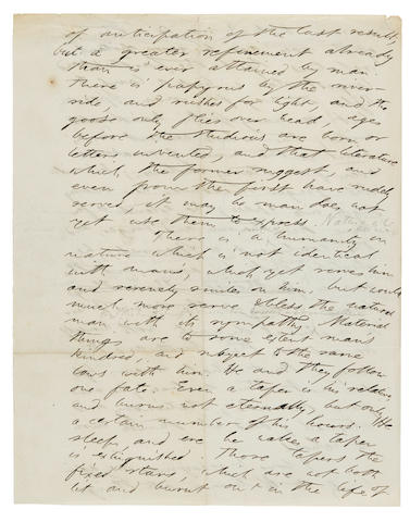 THOREAU, HENRY DAVID. 1817-1862. Autograph Manuscript, from an early draft of A Week on the Concord and Merrimack, his first book, 2 pp, 257 x 199 mm, [Walden, 1847?],