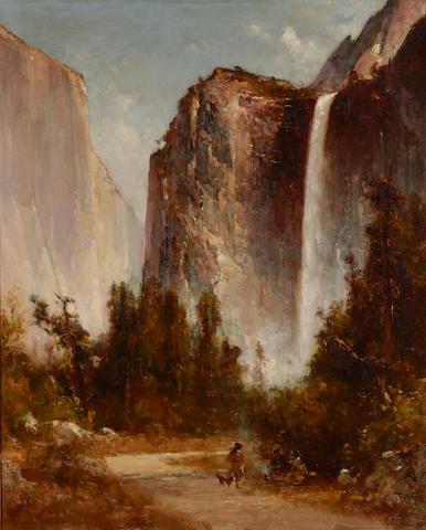 Thomas Hill (1829-1908) Bridal Veil Falls in Yosemite 30 x 24 1/4in