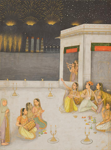 A LORD AND HIS HAREM ENJOYING A FIREWORKS DISPLAY ON SHAB E BARAT MUGHAL, CIRCA 1660