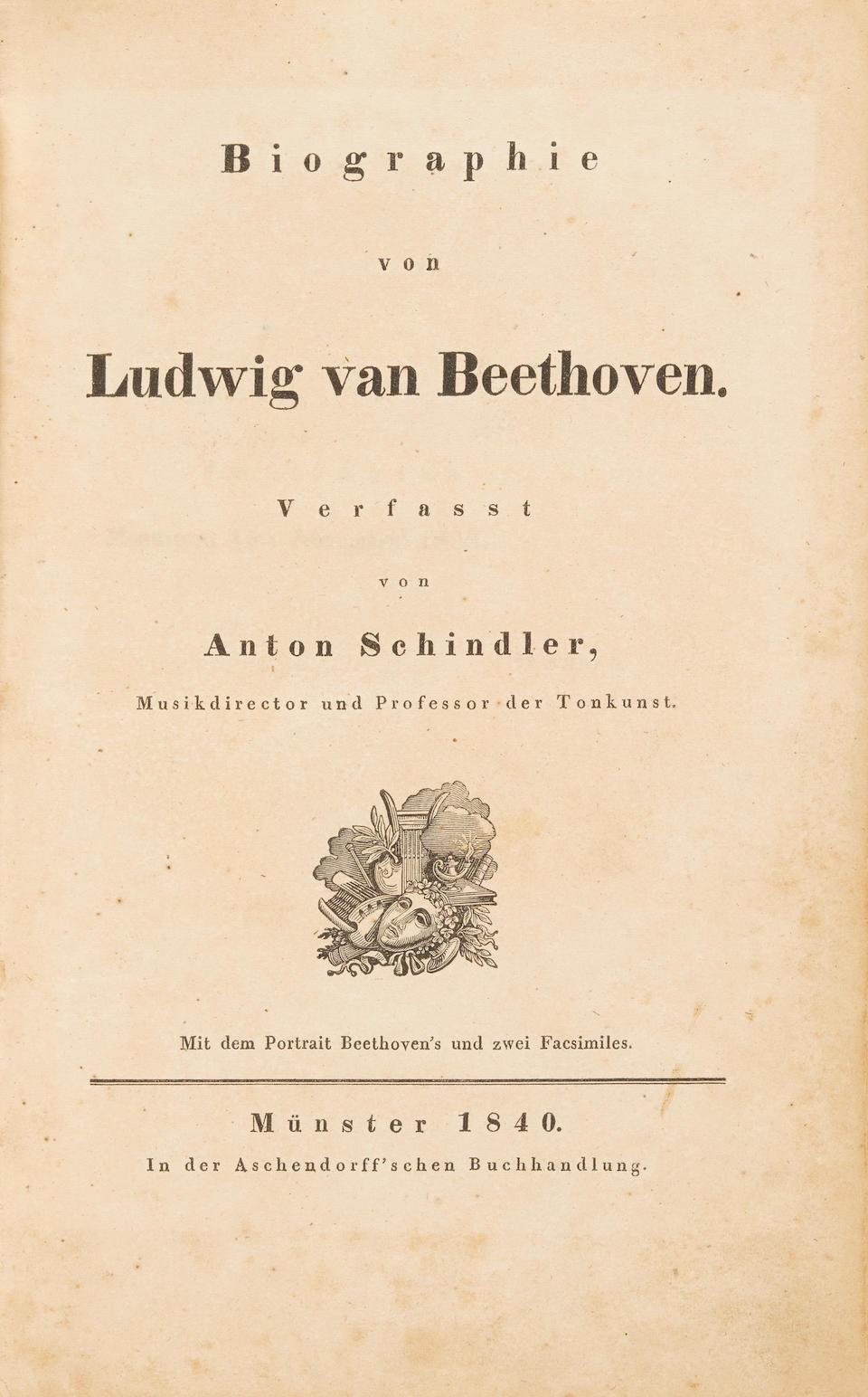 MAHLER, GUSTAV. 1860-1911. Schindler, Anton Biographie von Ludwig van Beethoven.  Munster: Aschendorff, 1840.