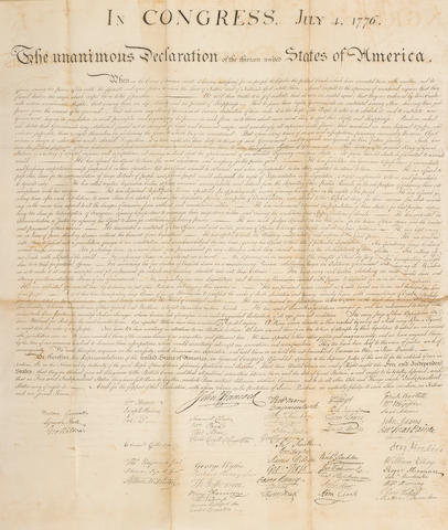 DECLARATION OF INDEPENDENCE. In Congress, July 4, 1776. The Unanimous Declaration of the Thirteen United States of America. When in the Course of Human Events... [Washington, D.C.: engraved by William J. Stone for Peter Force, after 1833.]