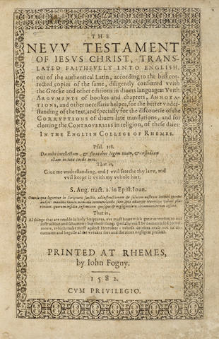 BIBLE IN ENGLISH: 1582 DOUAI-RHEIMS. The New Testament of Jesus Christ, Translated Faithfully into English.... Rheims: John Fogny, 1582.