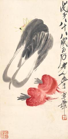 Qi Baishi (1864-1957) Grasshopper and Vegetable, 1948