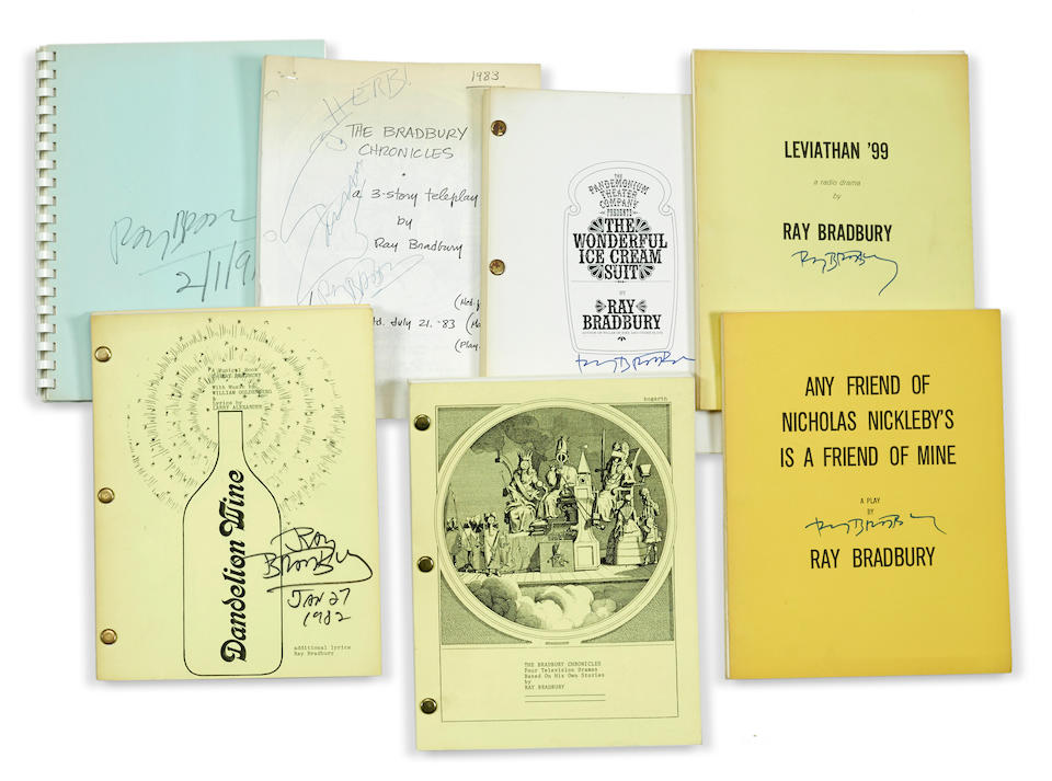 BRADBURY, RAY. 1920-2012. Large group of scripts and related material, approximately 72 items including: