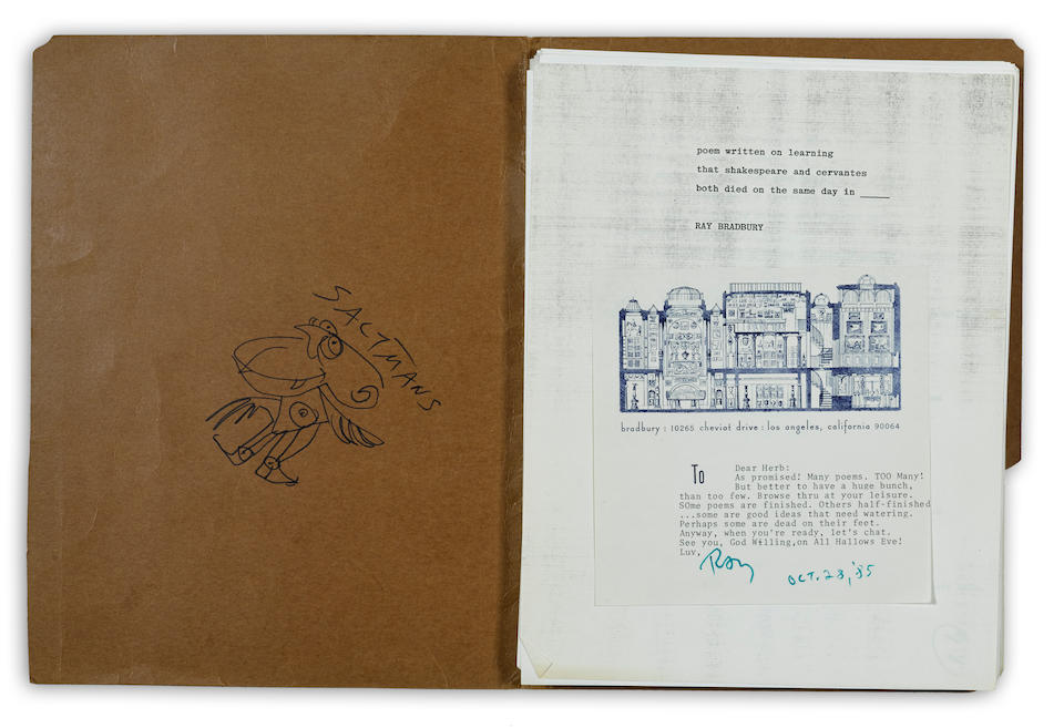 BRADBURY, RAY. 1920-2012. A  vast archive of early appearances, very early zines, secondary works, Autograph Letters Signed, signed photographs and ephemera including: