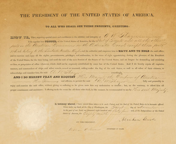 """LINCOLN, ABRAHAM. 1809-1865. THAYER, ALEXANDER WHEELOCK. 1817-1897. Document Signed (""""Abraham Lincoln"""") as President, partially printed and accomplished in manuscript, 1 p, folio (354 x 457 mm), Washington, November 1, 1864,"""