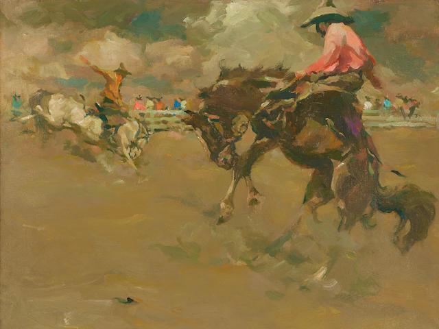 Armin Carl Hansen (1886-1957) Salinas Rodeo 18 x 22in overall: 28 x 32in