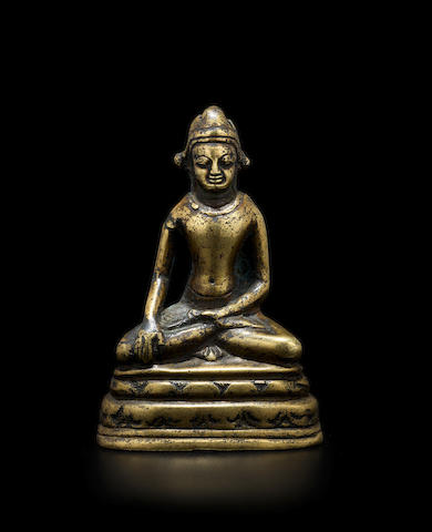 A COPPER ALLOY FIGURE OF CROWNED BUDDHA KURKIHAR, PALA PERIOD, 11TH/12TH CENTURY