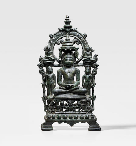A COPPER ALLOY JAIN SHRINE CENTRAL INDIA, 10TH CENTURY