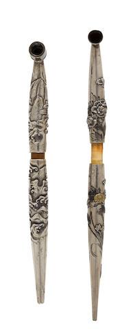 Two silver and bamboo kiseru (pipes) Edo period (1615-1868) or Meiji era (1868-1912), 19th century