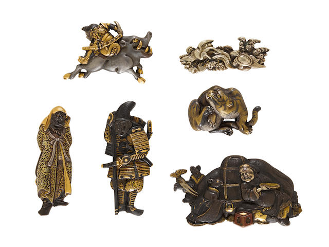 A group of six fine kanamono (metal fittings) from tobacco pouches One after Yanagawa Naomasa, Edo period (1615-1868) or Meiji era (1868-1912), 19th/20th century
