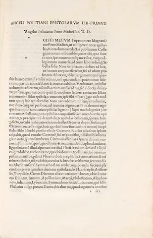 POLITIANUS, Angelus. 1454-1494.  Opera. Edited by Alexander Sartius.  Venice: Aldus Manutius, July 1498.