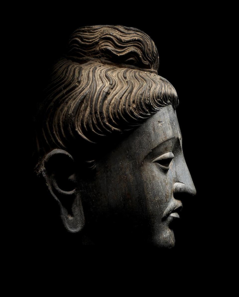 A LARGE SCHIST HEAD OF BUDDHA  ANCIENT REGION OF GANDHARA, 3RD/4TH CENTURY