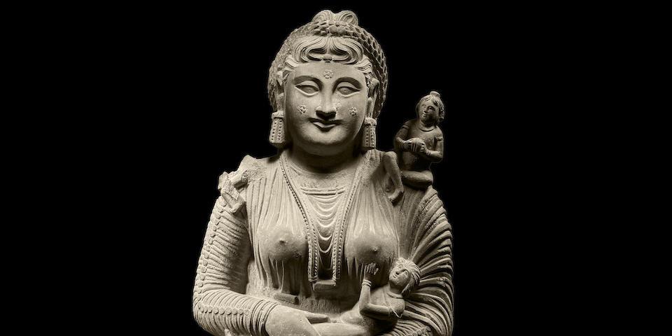 A schist figure of Hariti Ancient region of Gandhara, Circa 2nd Century