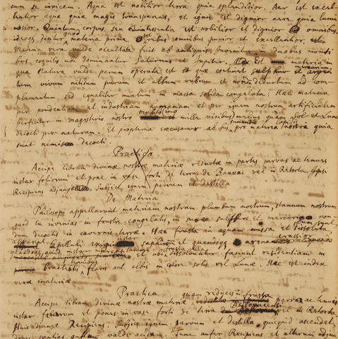 "NEWTON, ISAAC. 1642-1727. Autograph Manuscript in Latin, being detailed instructions on making the philosopher's stone, titled on the upper wrapper ""Opus Galli Anonymi,"""