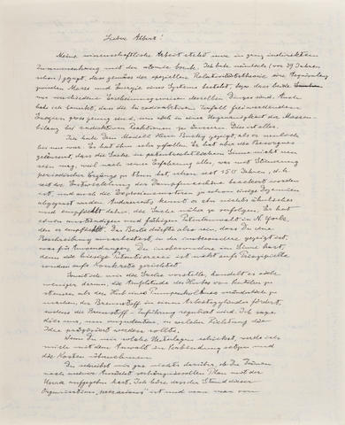 "EINSTEIN, ALBERT. 1879-1955. Autograph Letter Signed (""Papa""), 2 pp recto and verso, 4to (280 x 215 mm),"