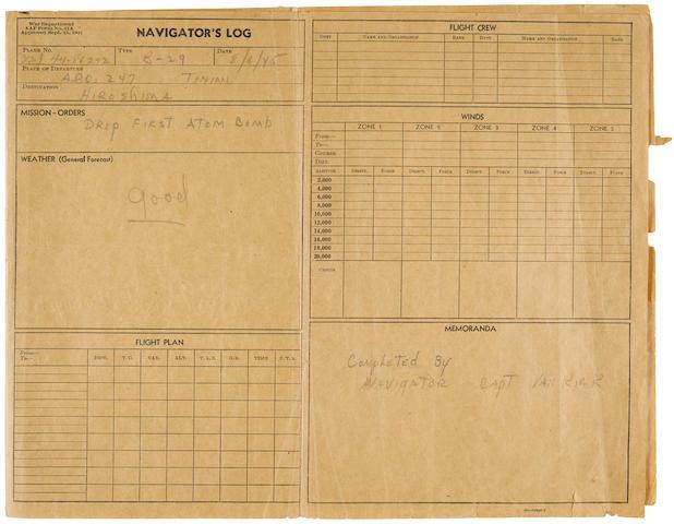 "Van Kirk, Major Theodore J. ""Dutch."" 1921-2014, and Captain Robert Lewis.  Autograph Manuscript, being a true copy of the Navigator's Log for the flight of Enola Gay,  on 3 printed oblong USAAF proforma sheets on sepia paper imprinted ""Navigators Log,"""
