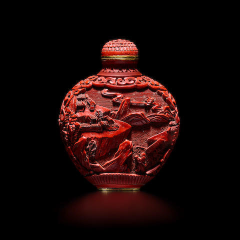 A CINNABAR LACQUER 'LANDSCAPE' SNUFF BOTTLE 19th/early 20th century