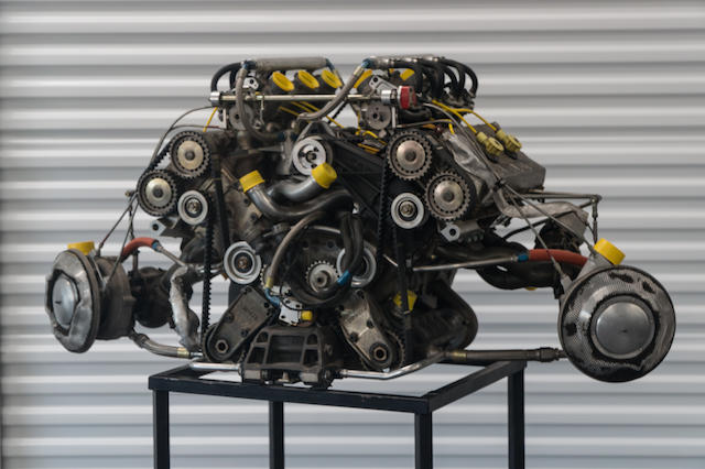 A 1985 F1 Renault EF15 1.5 Liter V6 Twin Turbo Engine